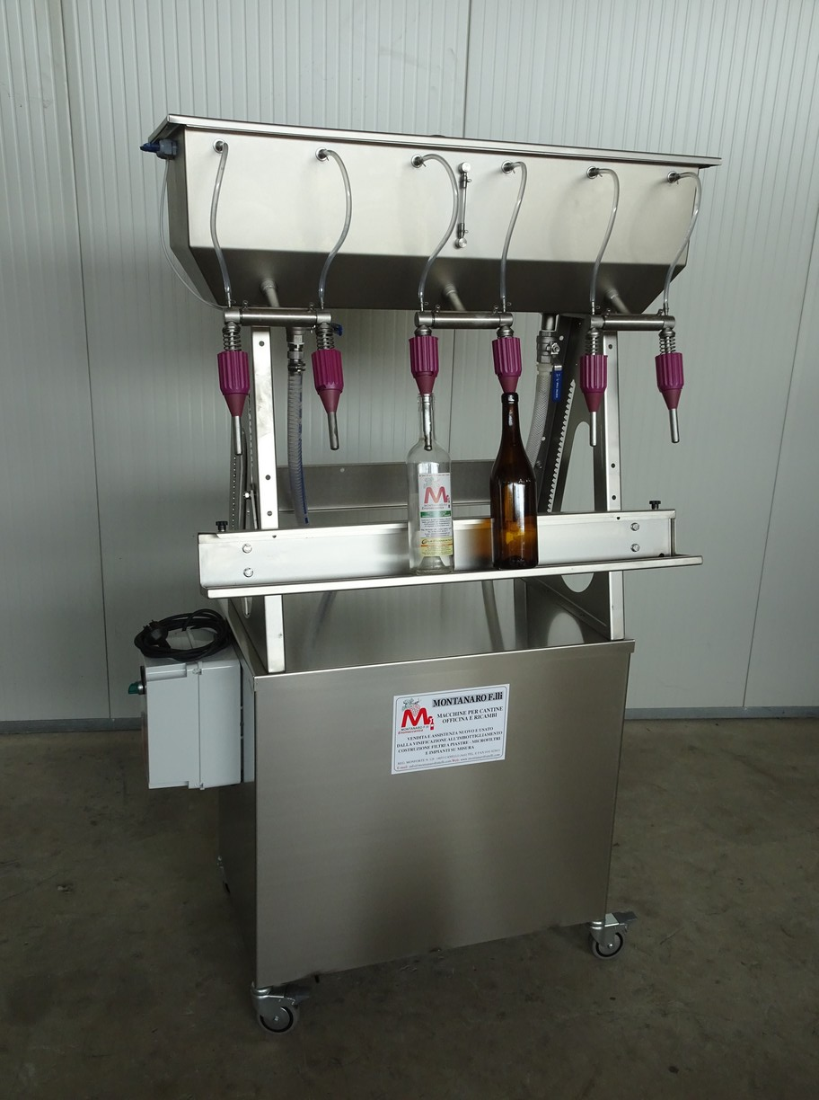 SEMI-AUTOMATIC IN-LINE FILLER 6 NOZZLES WITH PUMP, ELECTRIC PANEL AND PROBES NEW MACHINE