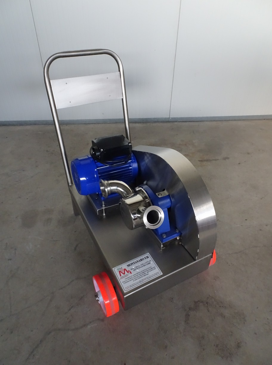 PUMP - ELECTRIC PUMP IN STAINLESS STEEL WITH FOOD NEOPRENE IMPELLER MOD. EURO 50 ONE SPEED WITH REDUCTION PULLEY SINGLE PHASE 220 VOLT NEW MACHINE