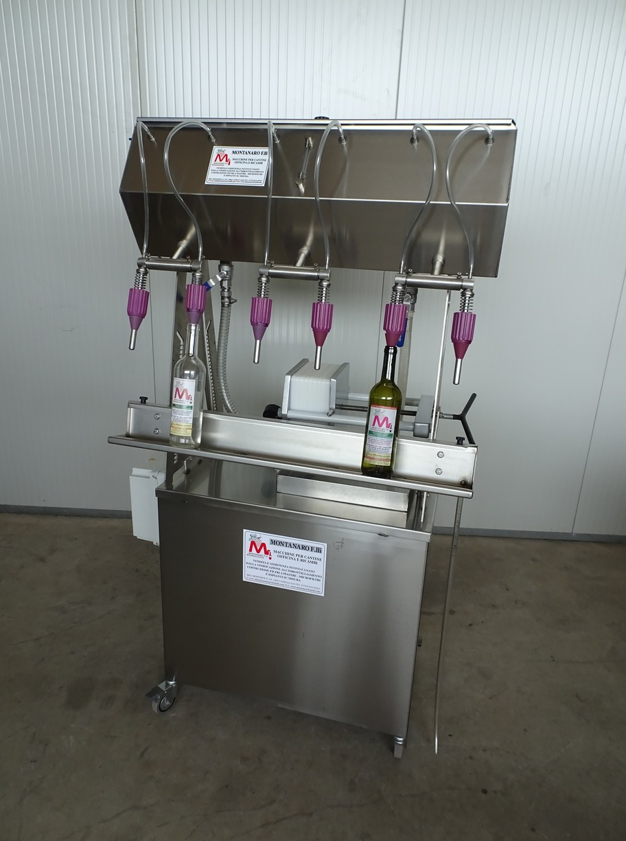 SEMI-AUTOMATIC IN-LINE-FILLER 6 NOZZLES WITH FILTER PLATES 20X20 TO 2 HOLES NEW MACHINE