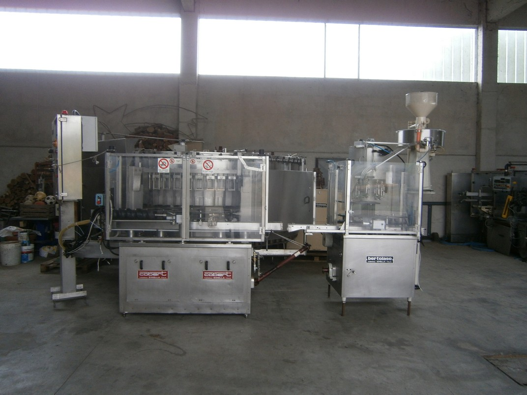ISOBARIC FILLING MACHINE COBERT BERTOLASO MODELLO SUPREMA 72 VALVES   BERTOLASO CORKING MASCHINE 8 HEADS FOR ALUMINIUM SCREW CAP IN SYNCROBLOCK SECOND-HAND MACHINE