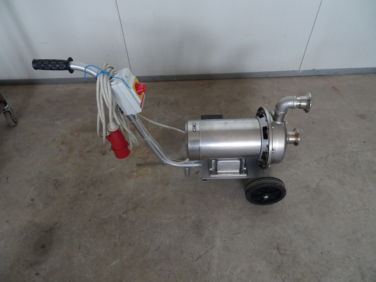 EBARA STAINLESS STEEL WASHING PUMP, ON A TROLLEY WITH WHEELS, NEW MACHINE.