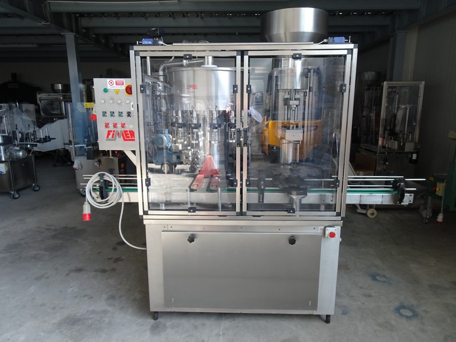 FIMER MONOBLOCK 12/1, FILLER WITH 12 VALVES, CORKING FOR NATURAL CORK, SECOND-HAND MACHINE.