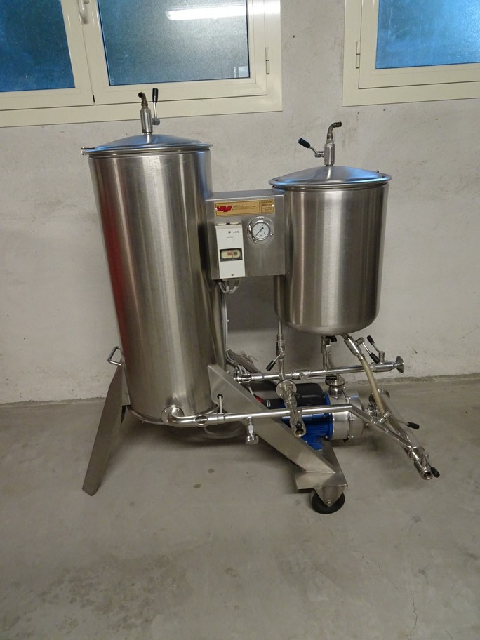 KIESELGUR FILTER VELO IN STAINLESS STEEL, 3MQ OF FILTERING SURFACE, VERTICAL SHEETS, SECOND-HAND MACHINE.